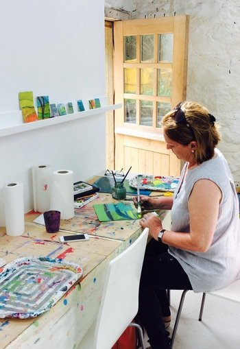 Paintbox Luxury Art Retreat- Student Painting in the Purpose Built Studio