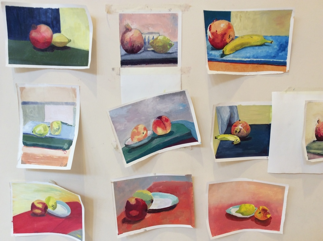 Student's Still Life Paintings from a Paintbox Weekend Workshop